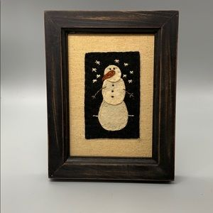 Handmade Mixed Media  Felted & stitched Snowman